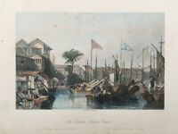 1843 Antique Print; The European Factories, Canton /Guangzhou, China after Allom