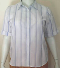 Polycotton Short Sleeve Button Down Shirt Machine Washable Tops & Blouses for Women
