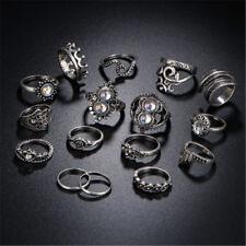 16PCS/Set Retro Women Rings Finger Rings Flowers Heart Drop Anklet Jewelry HP