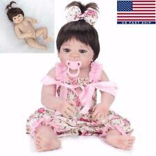 "22"" Full Body Vinyl Silicone Lifelike Reborn Baby Girl Doll Handmade Toy Gift"