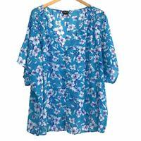 TORRID 3 Plus Size Floral Chiffon Button Top Turquoise Blue White Pink Blouse 3X