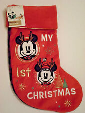 Disney Store Baby Holiday Stocking Red Mickey Minnie Mouse My 1st Christmas