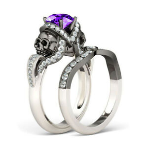 Two Tone 3.85 ct White Round Cut CZ 925 Sterling Silver Skull Wedding Ring Set