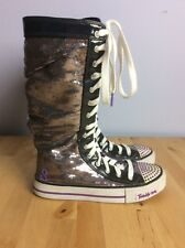 SKECHERS TWINKLE TOES BOOTS Youth Size 4 SEQUINS LACE UP SNEAKER BOOTS FREE SHIP