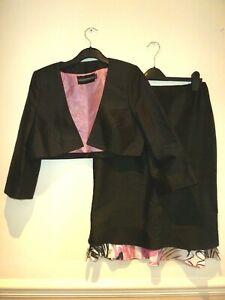 Jorgina 2p black/pink shot silk skirt & matching black bolero jacket size 12