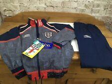 "Vintage 1990s Umbro England Football Tracksuit Top Bottoms Set Boys Youths 30"""