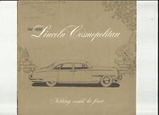 LINCOLN COSMOPOLITAN SIX PASSENGER COUPE/SPORT SEDAN/CONVERTIBLE USA BROCHURE 50