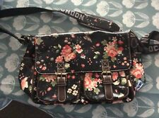 Oil Cloth Satchel Bag - Black With Pink Flowers