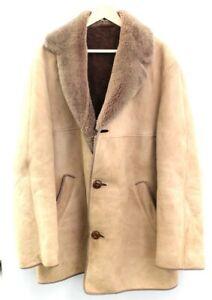"""Men's MORLANDS Vintage Brown Genuine Sheepskin Button Up Coat UK Size 44"""" C54"""