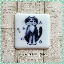 Fused Glass Coaster with Alley Cat, Cat Decal, Drinks Coaster, Minerva Hot Glass