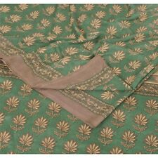 Sanskriti Vintage Green Saree Moss Crepe Printed Sari Soft Decor Craft Fabric