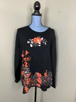 My Halloween Crewneck Shirt Long Sleeve foil Metallic Pumpkins Womens 1X Black