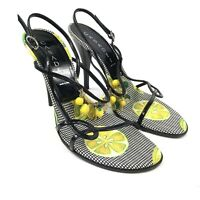 Casadei Women's Black Strappy Lemon Yellow Gingham Open Toe Heels ITALY Sz 7