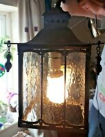 Antique Oriental Heavy Brass Porch Light Lantern With Triple Pane Glass GWO