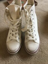 Ash  Ankle Lace Up Boots Cream Canvas Size 42