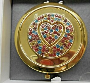 Double Mirrored Compact Jeweled Heart Liz Claiborne NEW