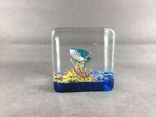 Superb Murano Square Cube Aquarium Tropical Fish Paperweight