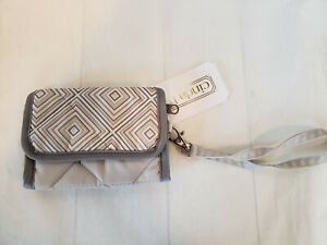 cinda b Cell Phone Wristlet French Linen Fabric Card Holder Wallet NWT