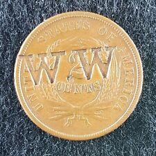 "1864 2 Cent Piece Counter Stamped ""W.W"" AU/UNC"