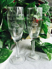 2 Personalized ETCHED 6oz Champagne Flute GLASSES,50th 25th  Anniversary Gift