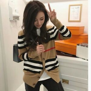 Women's V-neck Sweater Cashmere Cardigan Knitted Jacket Winter Top Long Sleeve