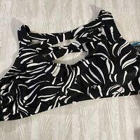 Boutique Bikini Top 3X Plus Sz Padded Shelf Caged Bra Black White Swim Top New