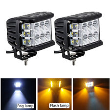 "2x 4"" inch 45W Pods White + Amber LED Work Light Off-road Fog Driving Strob Lamp"