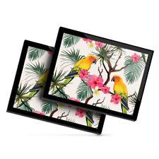 2 x Glass Placemats 20x25 cm - Lovebird Parrot Tropical Flowers  #21996