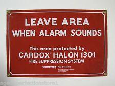 Orig Porcelain Fire Safety Sign Leave Area When Alarm Sounds - Cardox Halon 1301