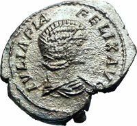 Julia Domna Caracalla & Geta mother 193AD Silver Ancient Roman Coin Vesta i78602