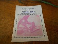 Vintage DONA ROSA Black Pottery ALFARERIA Invitation/Brochure/Map 4 Bowl/Whistle