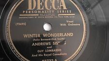 Andrews Sisters  -  78rpm single 10-inch - Decca #23722 Winter Wonderland