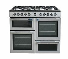 Flavel MLN10FRS 100cm Range Cooker Dual Fuel 7 Burners Freestanding Silver #1961