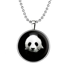 "Panda Charm Pendant Fashionable Glass Necklace - Glow in the Dark - 23"" Chain"