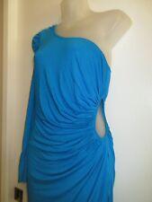bebe Kardashians M Dress One Shoulder Side Cutout Bright Turquoise Blue Party