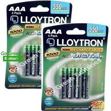 8 x Lloytron AAA Rechargeable Batteries 550 mAh (phone)