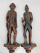 Wall Plaques Set 2 Colonial Soldiers Revolutionary War Vintage1971 Dart Ind