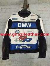 MEN BMW S1000 MOTORBIKE LEATHER RACING JACKET BLUE & WHITE AVAILABLE ALL SIZE