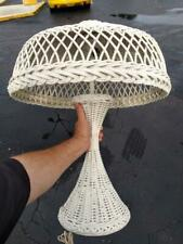 Vintage Antique Old White Wicker Table Lamp Light Fixture Base and Shade