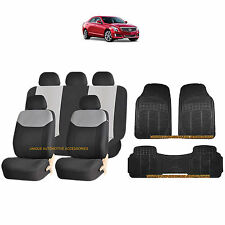 12PC GRAY ELEGANT AIRBAG SEAT COVERS & BLACK RUBBER FLOOR MATS SET FOR CARS 3865