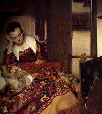 "Art Oil painting Johannes Vermeer - Female portrait A Maid Asleep in Room 36"""