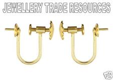 9ct YELLOW GOLD EARRING WIRES SCREW CLIP ON 6MM CUP