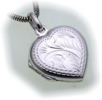 Damen Medaillon Silber 925 Herz Gravuren Anhänger aufklappen Sterlingsilber 0199