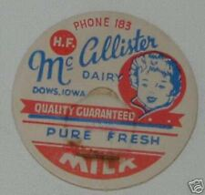 DC:(10)Vintage 1930 Milk Bottle Caps Dows Iowa, Ph #183