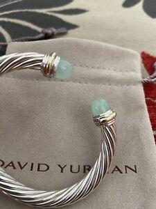 David Yurman Sterling Silver 14k Gold Chalcedony 7mm Cable Classic Bracelet