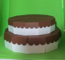 """2 Tier Scallop Top Cake Slice Centerpiece 6 1/2"""" and 10 10/16""""- 24 Favor Boxes"""