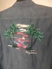 Tommy Bahamas Birds Of A Feather Bleach Wash Chambray Cotton Linen Shirt S