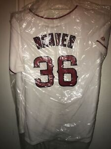 $97 Majestic Los Angeles Angels White Jersey size XL Weaver #36 NWT