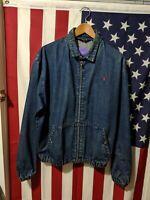 Vintage Polo Ralph Lauren Denim Harrington Zip Up Jacket Size L, VTG Ralph Jean.