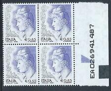 2004 ITALIA LA DONNA NELL'ARTE 0,85 EURO QUARTINA MNH ** - C0